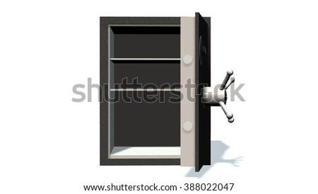 Open safe  on a white background - stock photo