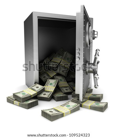 Open safe with dollars isolated on white background - stock photo