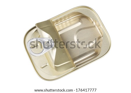 Open Sardine Can with a Clipping Path for the Background - stock photo