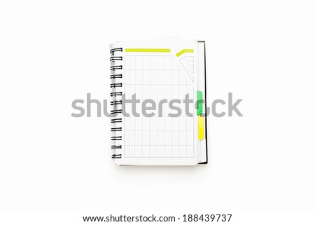 open schedule with ring binder, isolated on white. - stock photo