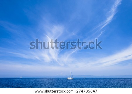 Open sea with yachts in Croatia, Lastovo. - stock photo
