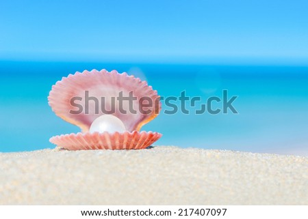 Open shell with a pearl on tropical sandy ocean beach - stock photo