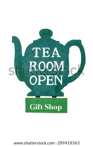 Open sign carved form wood in the shape of a teapot with painted text [Tea Room Open] and [Gift Shop] - stock photo