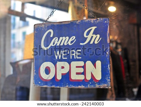 Open sign in cafe - stock photo