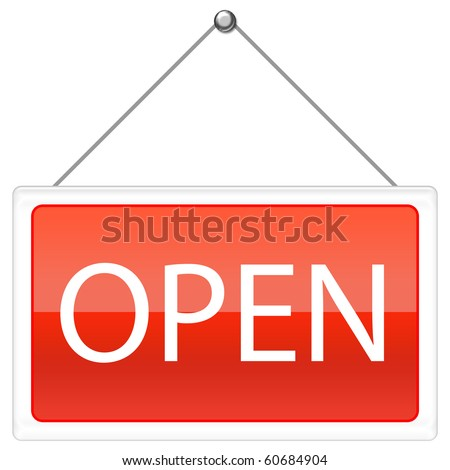 Open Sign in red color - stock photo