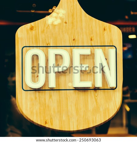 Open sign - vintage effect style pictures - stock photo