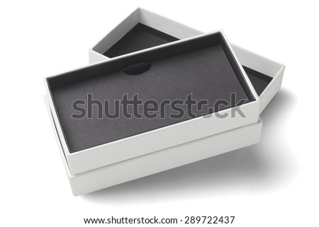 Open Smartphone Cardboard Packaging Box On White Background - stock photo