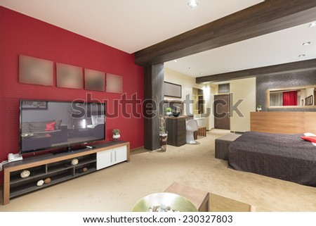 Open space apartment interior - stock photo