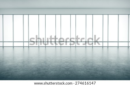 Open space interior with large windows. 3d rendering - stock photo