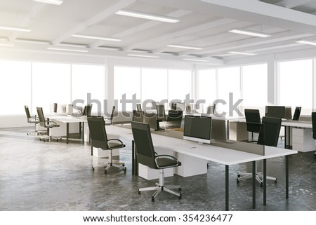 Open space loft office with furniture and big windows 3D Render - stock photo