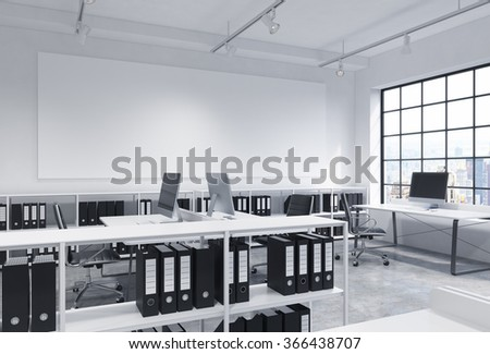 Open space office, big window to the right, New York view, tables with computers, office chairs, shelves with folders, lamps on the ceiling, big white board on the wall. Concept of work - stock photo