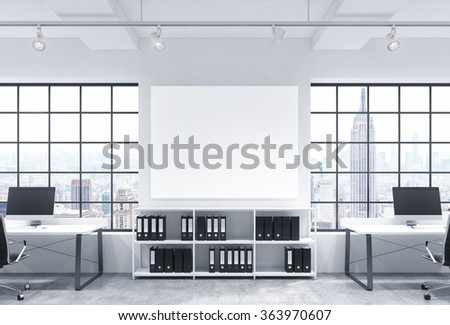 Open space office, big windows with New York view, tables with computers, office chairs, shelves with folders, lamps on the ceiling, big white board between windows. Front view.  3D rendering. - stock photo