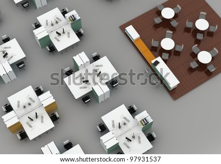 open space office with systems office desks and lounge area. Isolated on gray background - stock photo