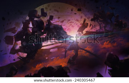Open space rocks.Space Scifi illustrated cosmic background artwork with asteroids and planet. - stock photo