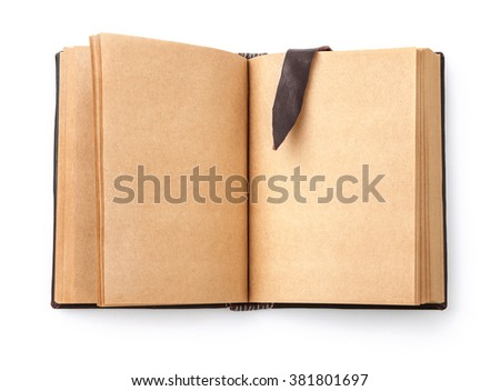 Open spread old book with blank page and leather bookmark. Isolated on white background - stock photo