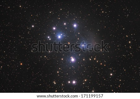 Open star cluster in constellation the Bull. - stock photo
