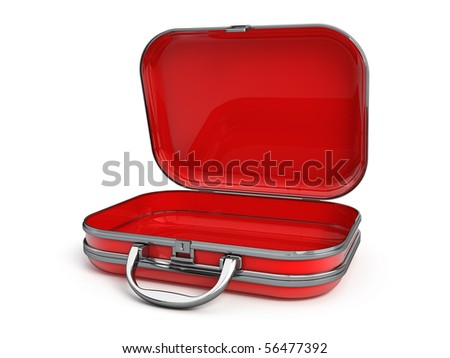 Open suitcase isolated on white - stock photo