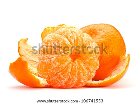 Open tangerine fruit isolated on white - stock photo