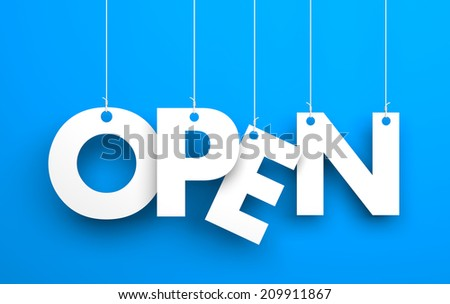 Open. Text on the string - stock photo