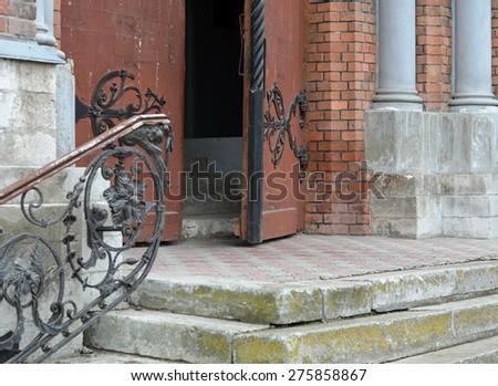 Open the door to the Catholic Church - stock photo