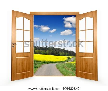 Open the door to way the field - stock photo
