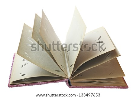 Open the old empty album for photo on a white background isolated - stock photo