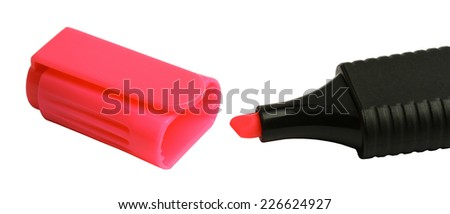 Open the red marker on a white background - stock photo