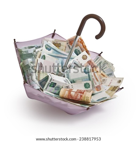 Open the umbrella with the Russian paper money - stock photo