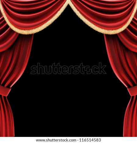 Open theater drapes or stage curtains with a black background - stock photo