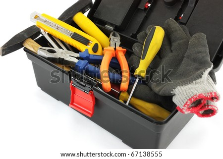 Open Tool Box with Tools - stock photo