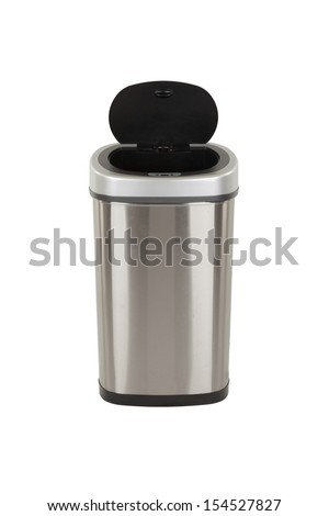 Open trash can, isolated on a white background - stock photo
