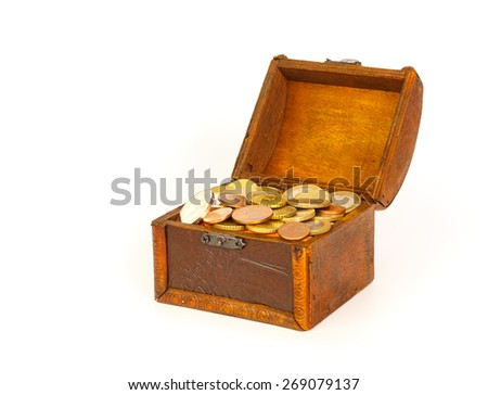 Open treasure chest with euro coins  isolated on white background - stock photo