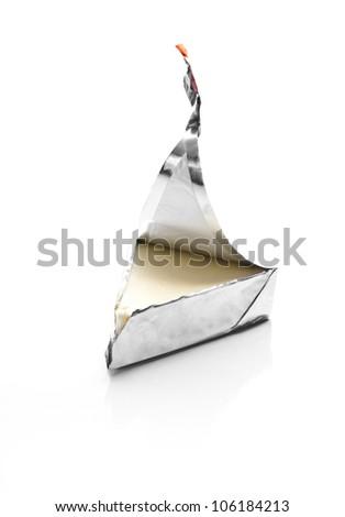 Open Triangular Cheese Portion - stock photo