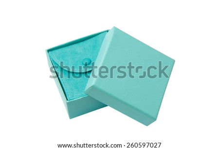 Open turquoise isolated gift box with white ribbon on white background - stock photo