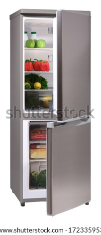Open two door INOX refrigerator isolated on white - stock photo