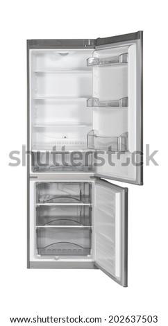 Open two door INOX refrigerator isolated on white - stock photo