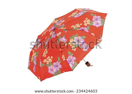 Open  umbrella with flowers elements isolated on white with clipping path - stock photo