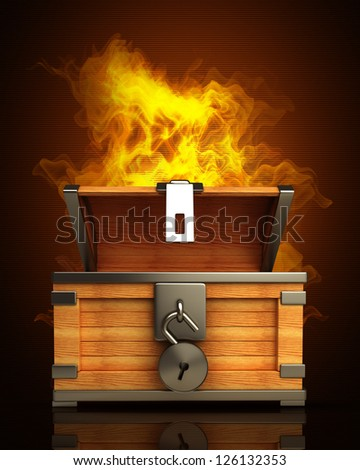 open vintage chest with lock in Fire. High resolution. 3D image - stock photo
