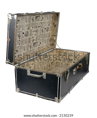 Open Vintage Chest with old newspaper liner. (With Clipping Path) - stock photo