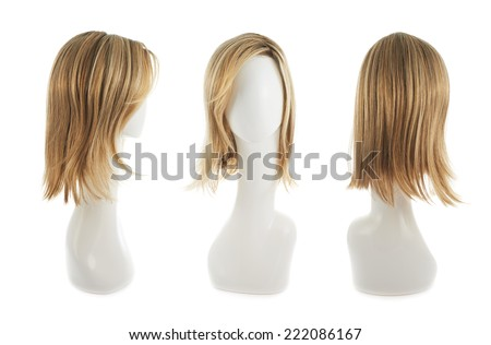 Open wave hair wig over the white plastic mannequin head isolated over the white background, set of three foreshortenings - stock photo