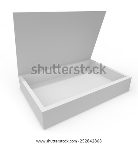 Open white blank box of chocolates, gifts and other goods and products - stock photo