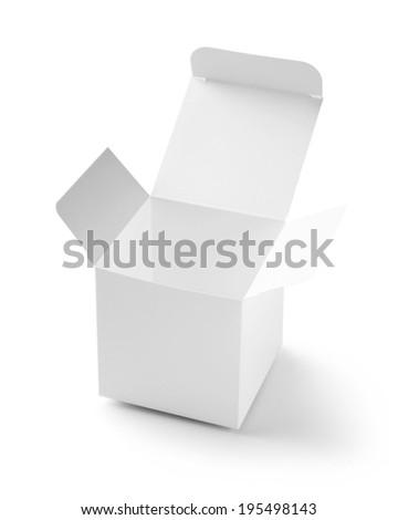 open white box on white background - stock photo