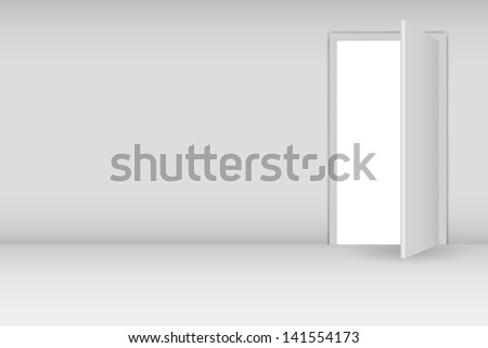 Open white door on a white wall  illustration - stock photo