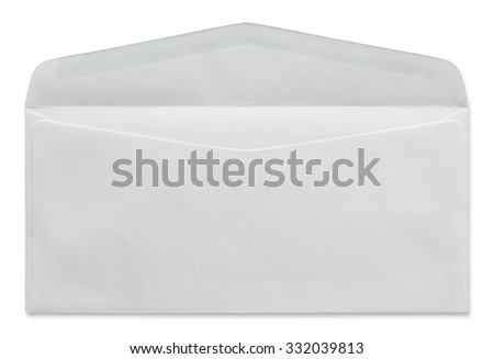 open white envelope isolated on white background - stock photo