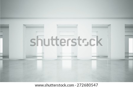 Open white interior. 3d render - stock photo