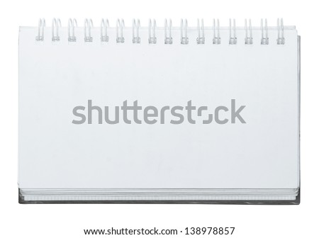 open white notebook on white background - stock photo