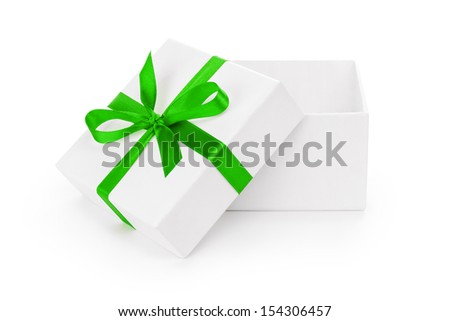 open white textured gift box with green ribbon bow, isolated on white - stock photo