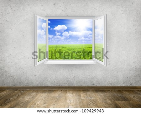 Open window from old room with landscape on a background - stock photo