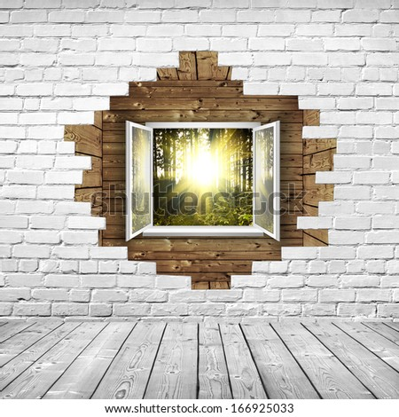 open window from wooden room behind broken wall - stock photo
