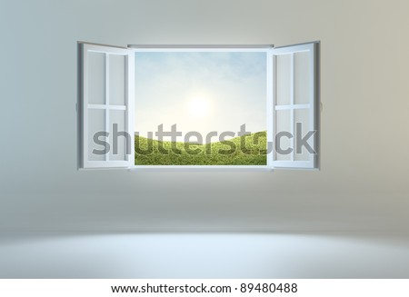 Open window leading to another place - stock photo